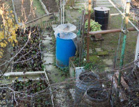 Orto con alcuni potenziali luoghi di riproduzione delle zanzare.